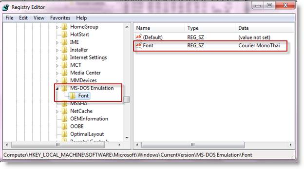 How to set Thai Language in Command Shell